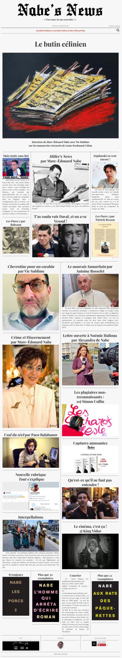 Nabe's News - Numéro 30 - Louis-Ferdinand Céline - Yann Moix - Adolf Hitler - Stéphane Zagdanski - Jonathann Daval - Patrick Besson - Noémie Halioua